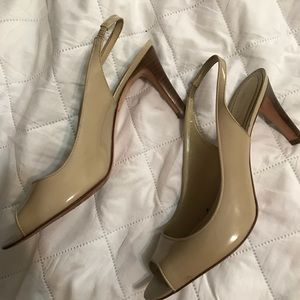 Nude patent leather Ann Taylor heels